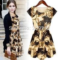 Plus size S-4XL women summer casual dress 2015 spring vintage print Elastic waist Puff Sleeve office work OL Pleated dress