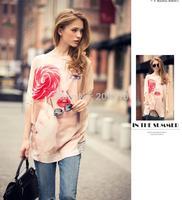 Plus size M-XL women summer autumn casual blouse chiffon shirt blusas 2015 spring vintage print long blouses