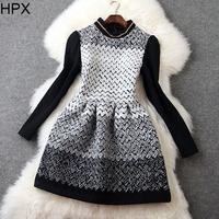 Women Brief Elegant Knitted Long Sleeve Tight Ball Dress 2014 Autumn Winter New European American Style Brand Designer D029