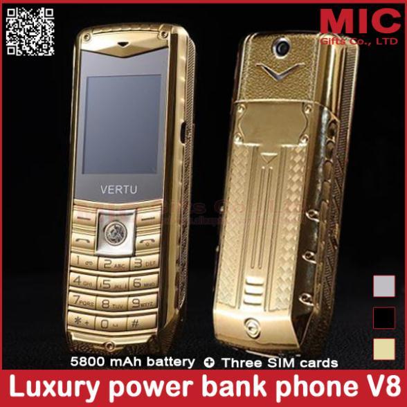 2014 luxury car mobile phone 3 SIM cards metal body 5800mAh power bank brand unlocked cell phones Russian Spanish Polish P226(China (Mainland))