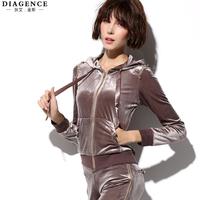 Diagence winter set slim women's solid color casual sports sweatshirt gold velvet long-sleeve set