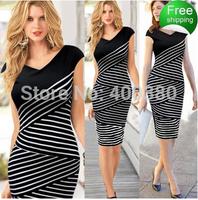 Ebay fashion women's V-neck short-sleeve patchwork stripe pencil skirt one-piece dress