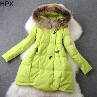 Women Casual Fashion Long Sleeve Hooded Zipper Mink Hair Duck Down Coat,Jacket 2014 Autumn Winter New European Style O019