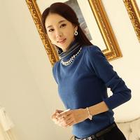 Basic t-shirt slim turtleneck long sleeve plus velvet thickening tops women basic shirt