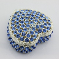 Free Shipping Full Diamond Heart Shape Trinket Box Wholesale Indian Trinket Box