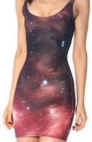 2015 Women dress European casual dress Galaxy Star Slim  hip dresses