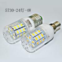 New arrival E27 led light SMD 5730 E27 led bulb, 24LED 4W 5730smd LED lamp Warm white /white 5730 candle light ,free shipping