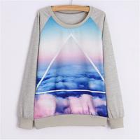2015 NEW 6 color Autumn Casual Pullover Hoodies Sport Tracksuits Women Hoody Long Sleeve Loose Animal Cartoon Printed Sweatshirt