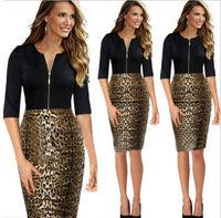 Women Summer Dress Elegant Sexy Pencil Leopard Patchwork Dress Evening Party Bodycon Dresses Plus Size