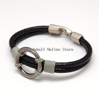 Trendy Unisex Casual Style Hemp Cord Wrapped Leather Bracelets with Alloy Linking Circle and Clasps Black 220x11x7mm