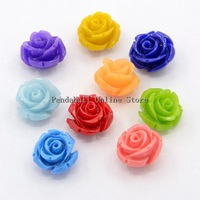 Synthetic Coral 3D Flower Rose Beads Mixed Color 10x8mm