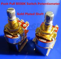 Free Shipping 2PCS Gold Plated Shaft Push Pull Audio B500K Switch Tone Control Pot Potentiometer Coarse Knurling Shaft