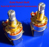 Free Shipping 2PCS Gold Plated Shaft Push Pull Audio B250K Switch Tone Control Pot Potentiometer Coarse Knurling Shaft