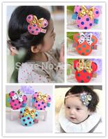 Free Shipping Girl headwear hair clips bow kids glittle headwear Clips Baby Clip child hairpins girls hair accessories P8
