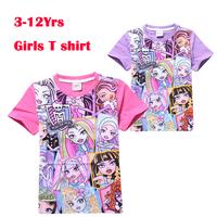 Roupas meninos 3-11Yrs Gilrs Summer Brand T shirt Monster High Clothing New 2015 Kids Children Fashion Short Sleeve Tops Tees