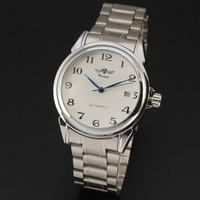 Winner brand 2015 New fashion men skeleton Auto Date full steel Band mechanical self wind  luxury male wrist watch relogio