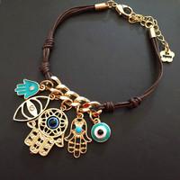 Fashion 2.2*2.5cm Evil Eye Bead Hamsa Hand of God Fatima Charm Handmadke Bracelets