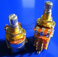 Free Shipping 20PCS Gold Plated Split Shaft Push Pull Audio Taper A250K Tone Switch Pot Potentiometer Coarse Knurling Shaft