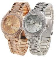 11pcs lot  Luxury Geneva Metal Watch Women Rhinestone Wristwatch Woman Crystal Golden Stainless Watch Wholesale