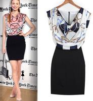 WZ12-20 2015 Summer Women New Piles Collar Dress Stitching Positioning Printed Dress OL Career Dresses
