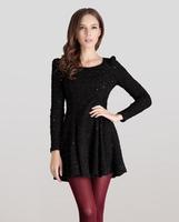 new large size women dress Slim A word long-sleeved woolen dress 00120