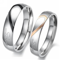 1PCS New Fashion Women Men Silver Black Half Heart Simple Circle Real Love Promise/Couple Ring Wedding Rings Engagement Jewelry