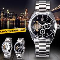 Czech Diamond Tourbillon Clock Men Full Steel Automatic Mechanical Watch Men Sports Military Watch Brand TEVISE Men Wristwatch