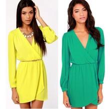Hot sale top 2014 women dress summer dress V-neck yellow long-sleeved chiffon dress free shipping(China (Mainland))
