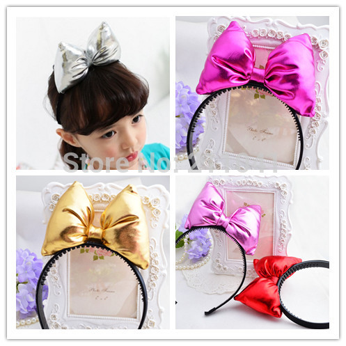Wholesale 5PCS Party Children Accessories Mouse ear Bow Hair Accessories Red Pink Bow Girls Headband kid birthday Headwear PH3(China (Mainland))