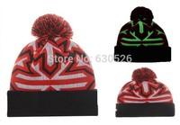 2015 New Glowflake Pom Knit Beanies For men Sport Glowflake Knit  wood beanie warm Hip-Hop cotton adjustable hats sports caps