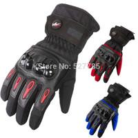 Motocross Motorbike Off-road Racing Cycling MTB ATV Winter Sports Warm Ski Waterproof Protect Gear Motorcycle Gloves Black \ Red