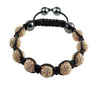 pba013 Tresor Paris Cannes Gold Crystal and Magnetite bracelet , shamballa cz beads
