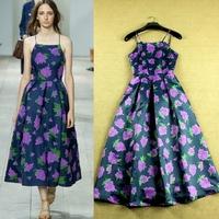 Drop Ship 2015 New High Fashion Purple Floral Print Slip Dress Elegant Midi Dress F16653