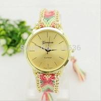 65pcs lot NEW Geneva Lace Watch Golden Indian dress watch women Analog Quartz wristwatch Fabric Textile Fashion Chain wholesale