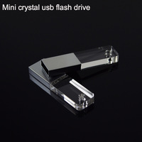 Hot Mini Acrylic Crystal Transparent Led light Usb flash drive Pen drive Usb memory stick disk Custom logo 1GB 2GB 4GB 8GB 16GB
