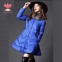 Black Blue Women Cotton Fur Collar Jackets Coat Down Thicken Zipper Plus Size Parka Slim Casual Womens Parka Jackets C13141W