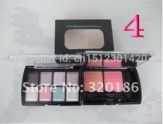 Free Shipping MAKEUP NEW 8 colors Eye shadow Eyeshadow +2 Colors Blusher Blush( 1pcs /lot)(China (Mainland))