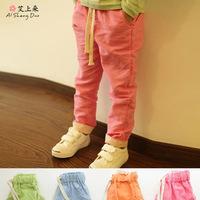 Children's clothing wholesale new 2015 cotton candy color girl long pants harem pants for boys linen top for kids