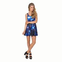 2015 European and American women dress Black Milk casual dress galaxy sky blue sleeveless pleated dresses