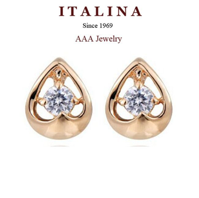 Promotion! New 2015 Fashion ITALINA Jewelry Gold Plated AAA+ Cubic Zirconia Peach Heart Stud Earrings For Women/Girls Promotion(China (Mainland))