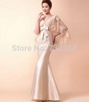 ladies womens taffeta beading bowknot champagne/red mermaid cloak lace embroidery slim evening dress  long mermaid dress
