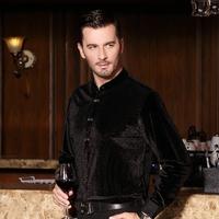 free shipping&2014 gold velvet shirt male business casual long-sleeve shirt black slim trend