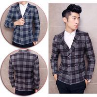 2014 Winter New Fashion Celebrities Gentleman Slim Suits Jackets Print Plaid Men's Business Blazer Coat