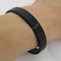 1 pc Silicone Rubber Bangle Elastic Belt Soft Sport Cuff Bracelet Solid Black