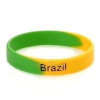 Silicone Rubber Bangle Elastic Belt Bracelet Football Brazil BR National Flag