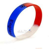 Silicone Rubber Bangle Elastic Belt Cuff Bracelet Football England UK FA Flag