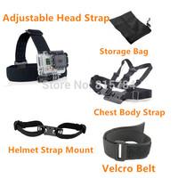 free shippingGopro Accessories Chest Belt+WiFi Remote Wrist Belt+Head Strap Mount+Helmet Strap+Bag Gopro HD Hero3 2 Black Editio