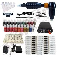 hot SALE ! Hawk Rotary Tattoo Machine Gun Kit Permanent Makeup Pen+ Power Supply+50 pcs Needles + 23 ink