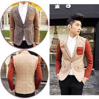 2014 New England Style Gentleman Blazer Coat Patchwork Fashion Men's Business Party Suit Jackets 2 Colors