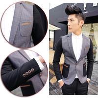 England Style Gentleman Jackets Houndstooth Cotton Patchwork Men's Business Blazer Coat